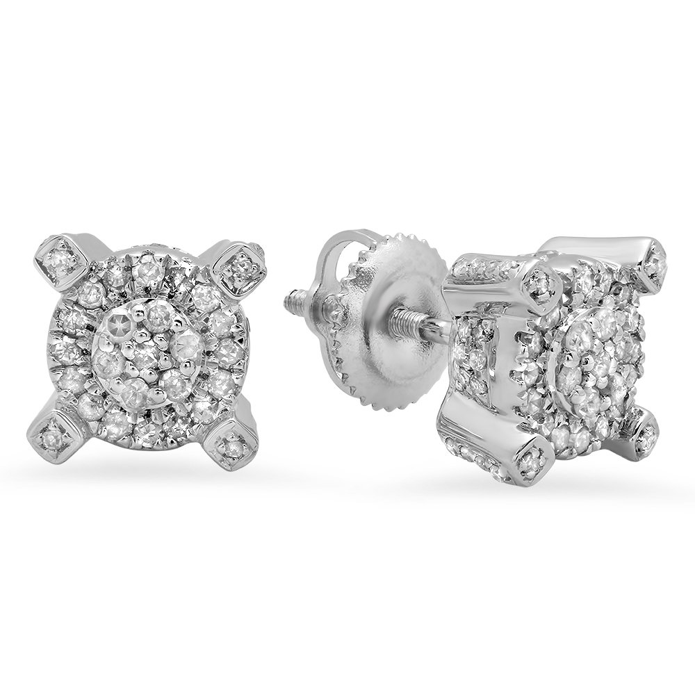 0.50 Carat (ctw) Sterling Silver Round Diamond Ladies Cluster Style Fashion Stud Earrings 1/2 CT