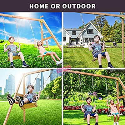 HAPPY PIE PLAY&ADVENTURE Nostalgic Children to Adult Wooden Hanging Swings Seat with 78'' Height Adjustable Pp Rope Per Side (2pc Pinewood): Garden & Outdoor