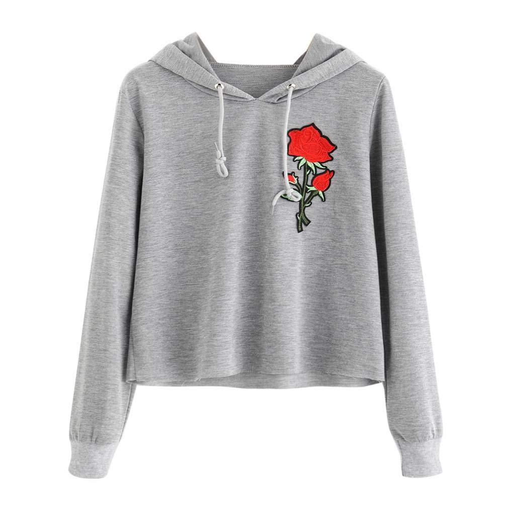 Kapuzenpullover Damen Julywe Damen Fashion Long Sleeve Sweatshirt Rose Print Hoodies Kausale Bluse Tops Julywe Sweatshirt