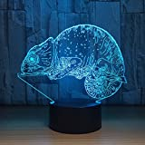 Chameleon Night Light LED 3D Visual Desk Lamp Dolphin Toy Household Home Room Decor 7 Colors Change Bedroom Touch Table Light Birthday Gift Christmas for Kids and Adult