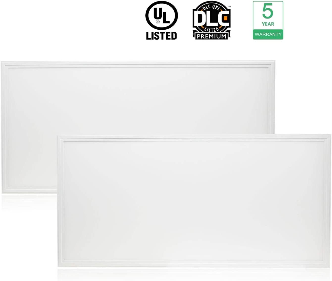 Cortelco LED Panel Light, Troffer Drop Ceiling Flat Panel Light 2x4FT, Dimmable 0-10V Edge-Lit Light Fixture, 48W, 6240Lumens, 5000K, DLC&UL Listed, 2 Pack
