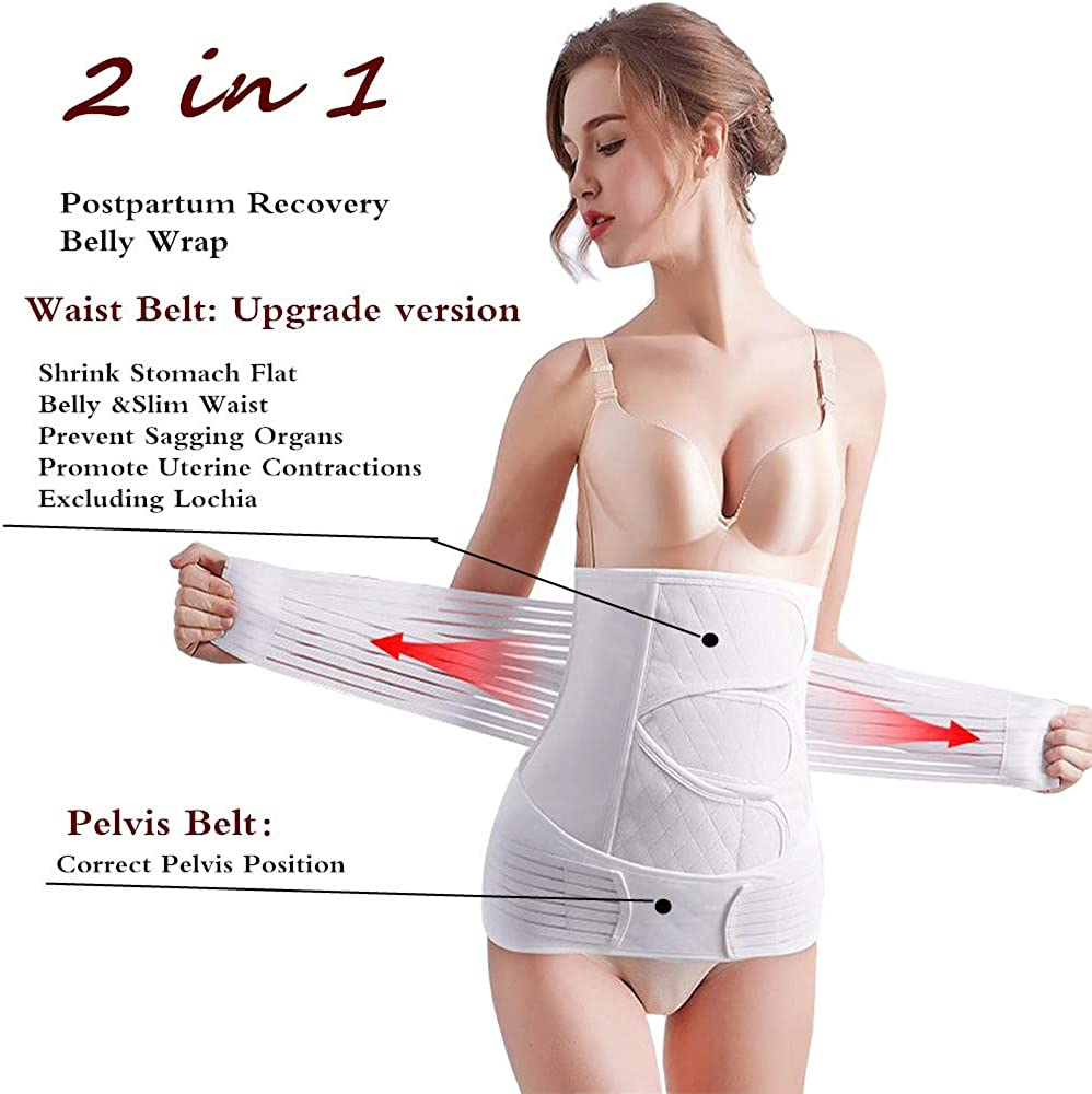 faliring 2 in 1 Postpartum Support Recovery Belly Wrap Girdle Support Band Belt Body Shaper