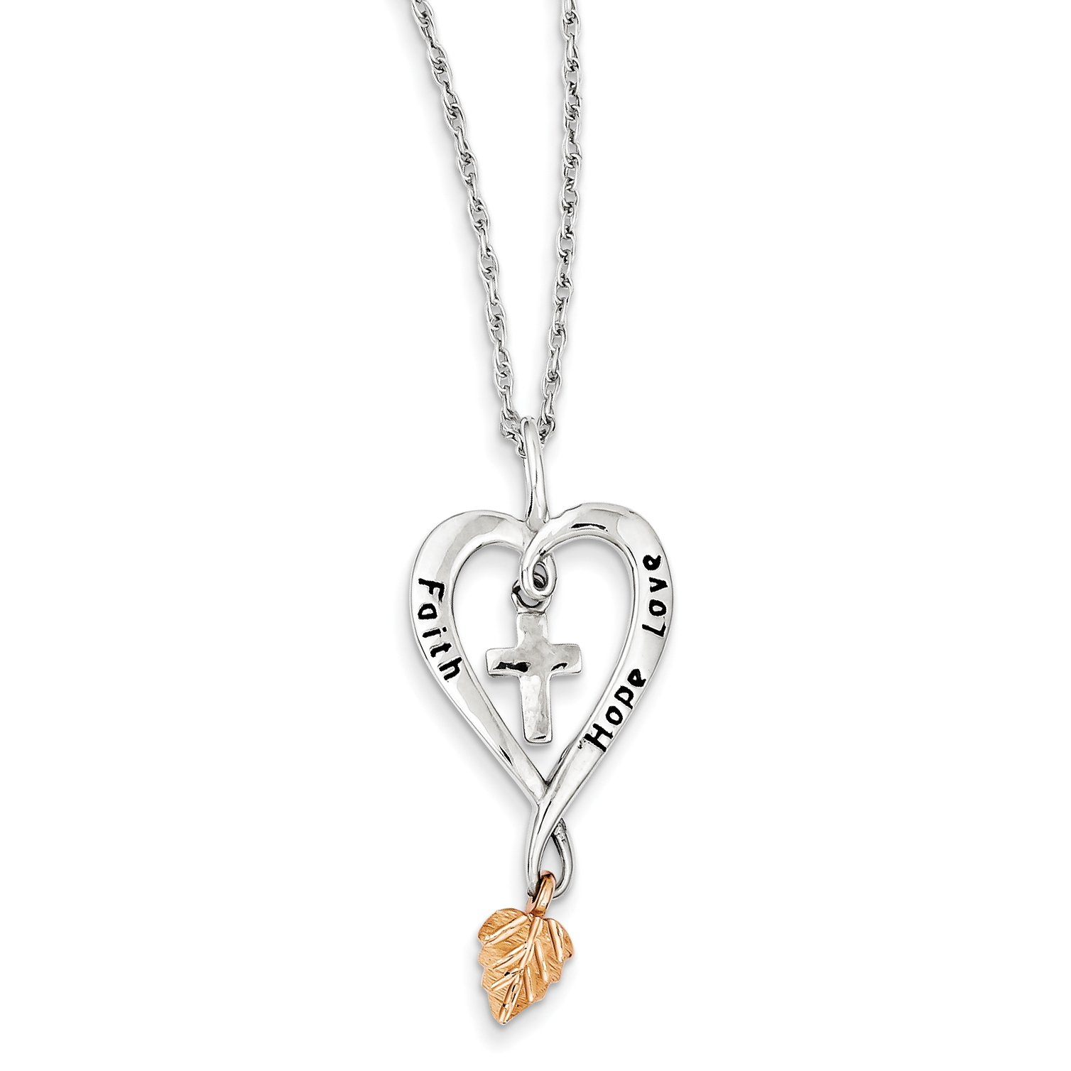 ICE CARATS 925 Sterling Silver 12k Rose Leaf Faith Hope Love Heart Chain Necklace S/love Fine Jewelry Gift For Women Heart