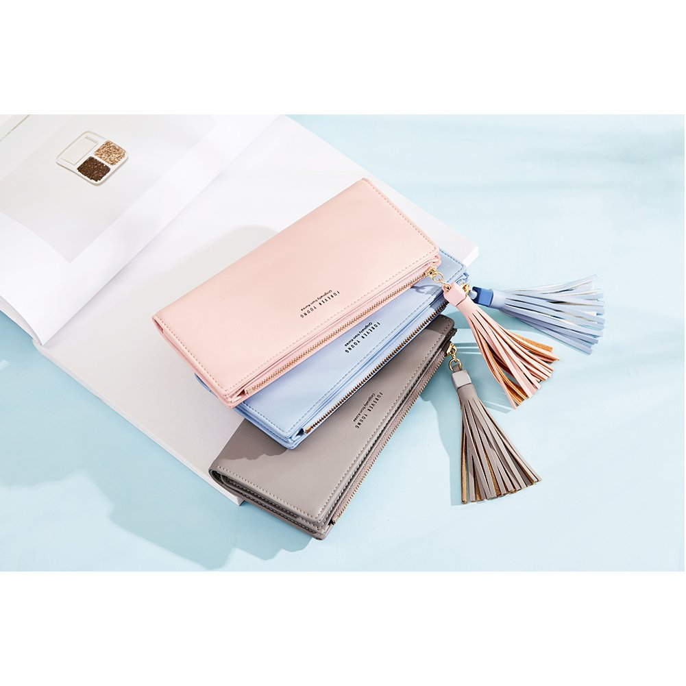 Wallets for Women Fashion Soft Leather Billfold Long Clutch Ladies Credit Card Holder Organizer Purse gray by Romere (Image #7)