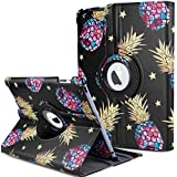 "MIGZOE Case for iPad Air, iPad Air 2, New iPad 9.7"" 2017/2018-360 Degree Rotating Case Cover for Apple iPad 9.7"" (6th Gen, 5th Gen)/iPad Air 2013 Model/iPad Air 2 2014 Model (Black Pineapple)"