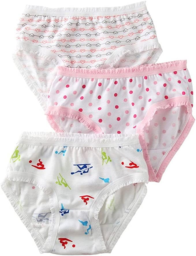 Adiasen Big Girls Cute 3 Packs Cotton Underwear Briefs Hipster Mixed Color
