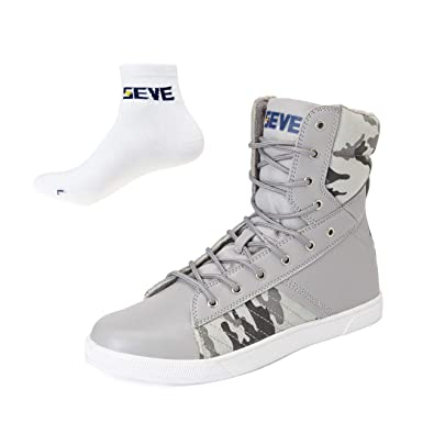 a372b97b0d2d SEVE Men s Athletic High Top Sneakers Gents Classic Canvas PU Boots Boys  Casual Walking Shoes Comfy Relax Lightweight Slip-Resistant Lace Up Gift  Socks
