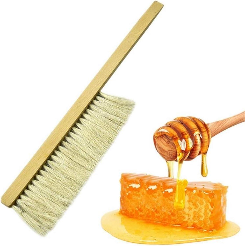 1 PC Cepillo de abejas para apicultura, Herramientas de apicultura Cepillo de barrido para abejas de madera Dos hileras Cepillo de pelo de cola de caballo Cepillos Equipo de apicultura para apicultura