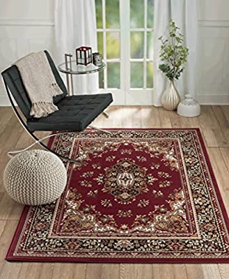 New Chateau #1 Burgundy Oriental Persian Style Area Rug Available In Aprox Size 2x3 ,5x7 ,8x11