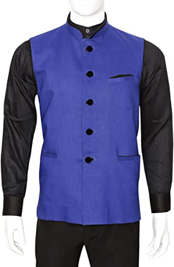 Libas Riyaz Gangji Blue Linen Vest For Men