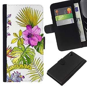KLONGSHOP // Tirón de la caja Cartera de cuero con ranuras para tarjetas - Papel pintado de la acuarela Primavera del helecho - Sony Xperia Z2 D6502 //