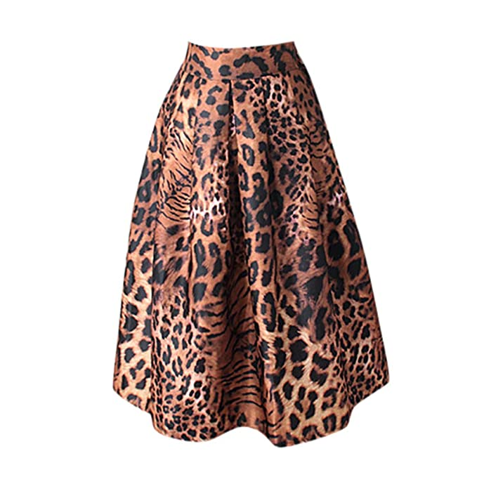 46cf73a5b5 DressLksnf Vestido Moda de Mujer Vestido Estampado Leopardo Falda Ajuste  Elegante Original Blusa Bonita Prenda Casual Sección Corta en Tutú Vintage   ...