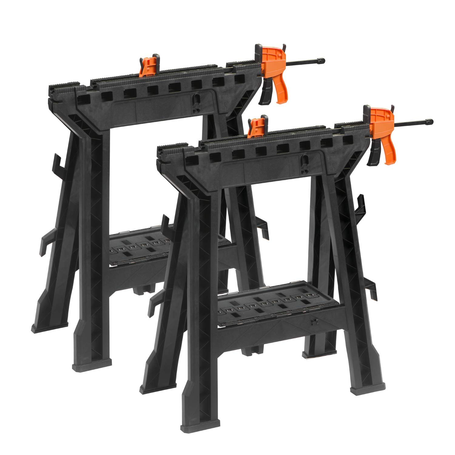 HYD-Parts 2 PCS Clamping Sawhorse Pairs with Bar Clamps, Built-in Shelf and Cord Hooks DIY Tools