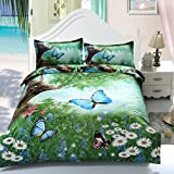 Suncloris,3d Butterfly in Spring,4pc Bedding Sheet Sets,1Duvet Cover,1Flat Sheet,2 Pillowcase(no Comforter inside)