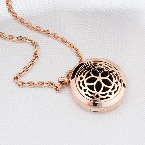 Aromatherapy Essential Oil Diffuser Necklace Jewelry - Rose Gold - Hypo-Allergenic 316L Surgical Grade Stainless Steel Locket Pendant Necklace! INCLUDES 3 WASHABLE Pads