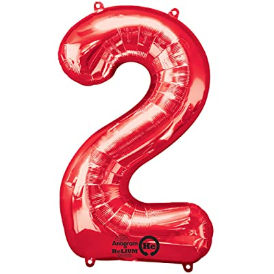 "Anagram 28277 Number 2 Red Foil Balloon, 34"": Kitchen & Dining"