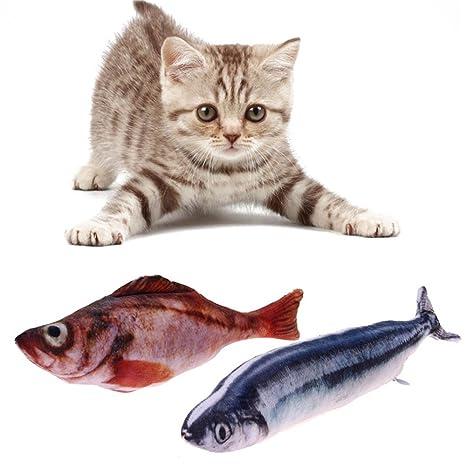 Juego de 2 juguetes para gato de pescado de simulación realista, juguete suave para gato