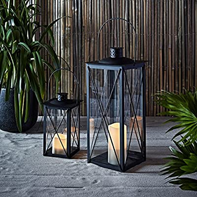 Black Metal Battery Operated LED Flameless Candle Lantern for Indoor Outdoor Use