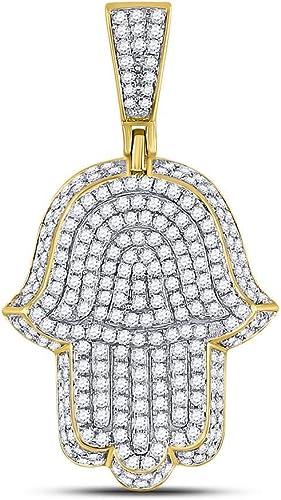 Genuine Diamond Hamsa Hand Charm 14K Yellow Gold Tone Round Pave Necklace Chain
