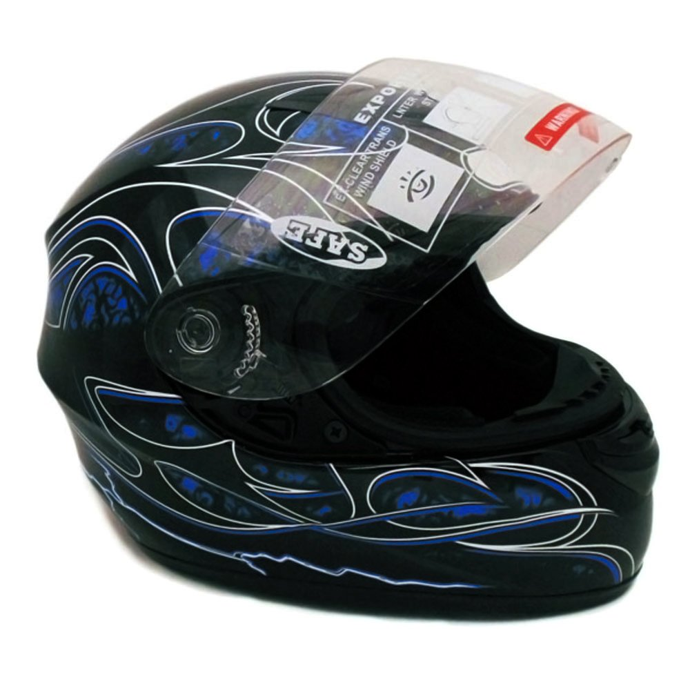 Motorcycle Full Face Helmet DOT Street Legal +2 Visors Comes with Clear  Shield and Free Smoked Shield - Tribal Blue (Large)