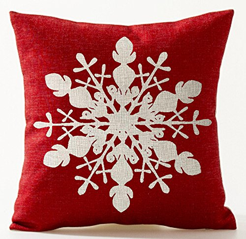 Winter Greetings Beige Ivory Shadow Beautiful Snowflake In Red Merry Christmas Gifts Cotton Linen Throw Pillow Case Cushion Cover Home Office Living Room Decorative Square 18 X 18 Inches