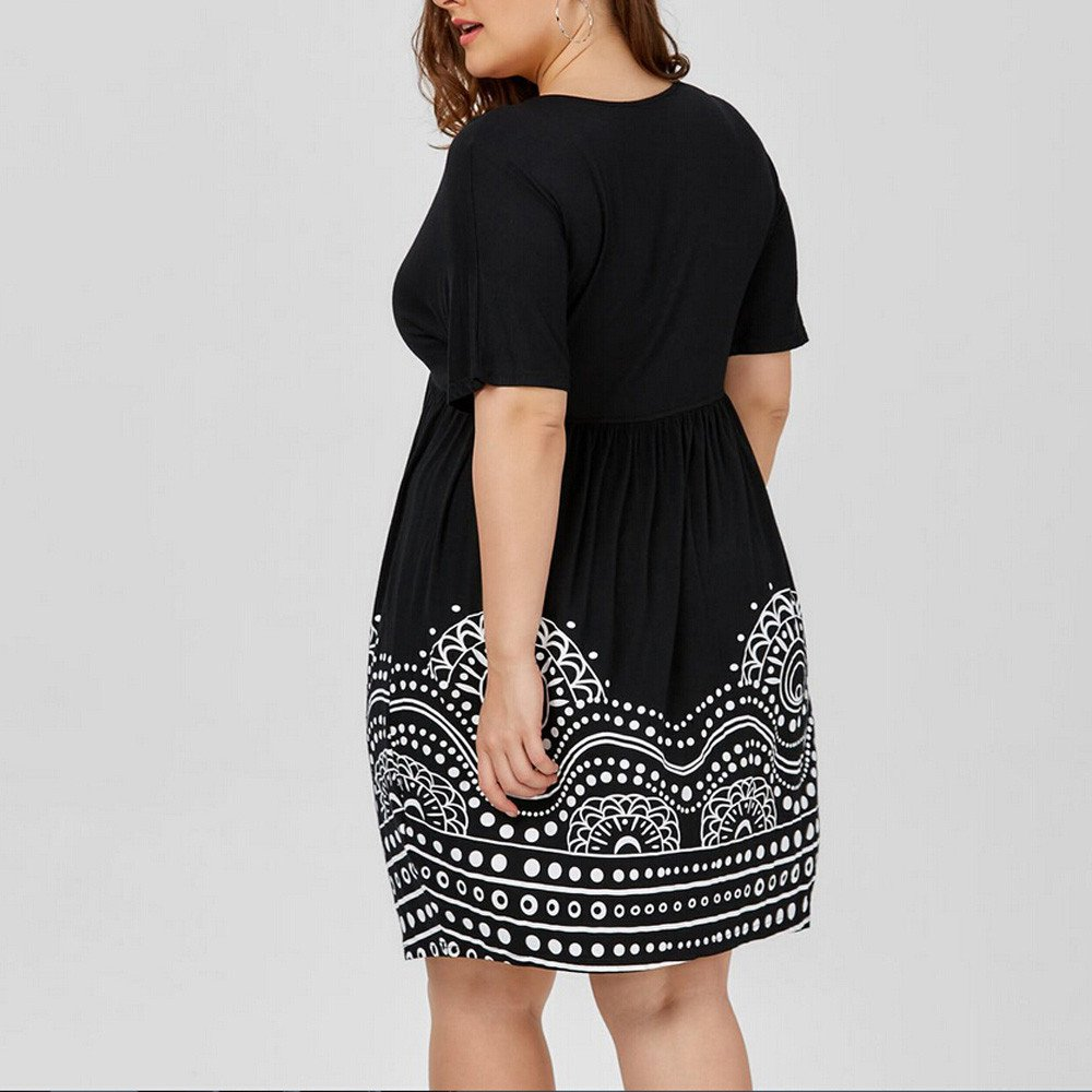 2XL, Black ❤️Hupoop❤️ /_ Women Tops /& Pants Hupoo/_ ❤ Fashion Womens Plus Size Empire Waist A Line Printed Short Sleeve V-Neck Dress