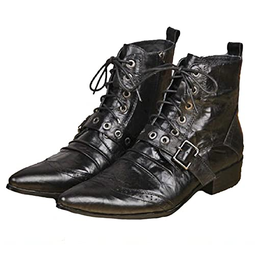 3b5282507b09 Cover Plus US Size 5-12 Black Leather Mens Casual Dress Zipper High Top  Ankle