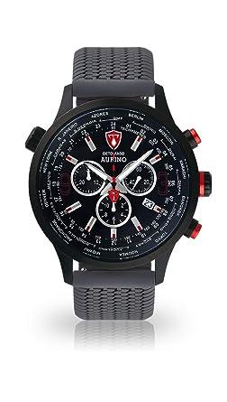 DETOMASO AURINO Reloj Caballero Cronógrafo Analógico Correa de Silicona Gris Cuarzo Esfera Negra DT1061-A-772: Amazon.es: Relojes