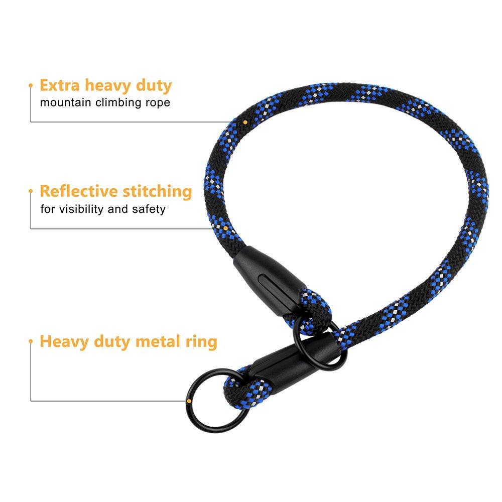 BronzeDog Rope Dog Choke Collar Braided Training Slip Collars for Dogs Small Medium Large Puppy