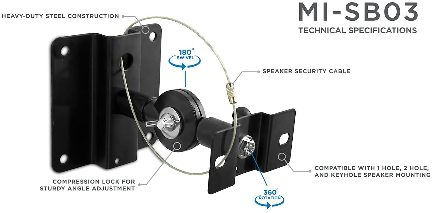 Mount-It! Speaker Mount for Wall and Ceiling, Low Profile Heavy Duty,  Anti-Theft, Universal for Channel Surround Sound and Satellite Speakers,  Black,