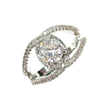 ningsanjin Mode Nuevo Design Blanco Diamante Joyas cumpleaños regalo anillos de compromiso de banda de boda