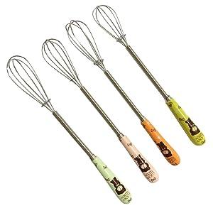 Verdental Wire Whisk 4 Pack Ceramics Stainless Steel Whisks Kitchen Utensils for Stirring, Blending, Whisking and Beating