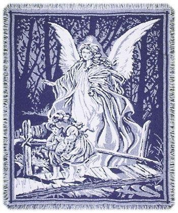 Guardian Angel and Children Crossing Bridge Blue Afghan Throw Blanket 48