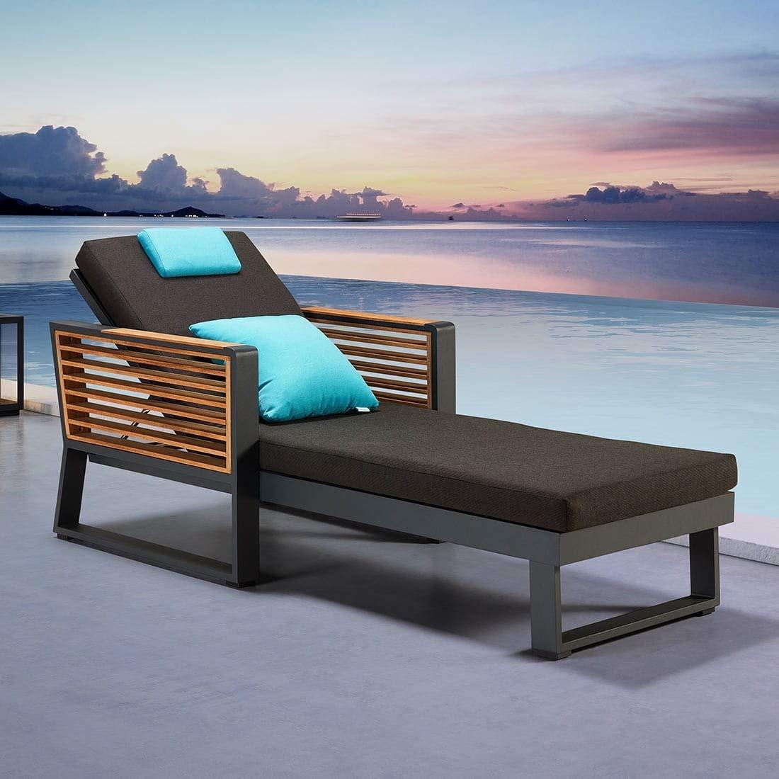 OUTLIV. Loungemöbel Outdoor New York Loungeliege Aluminium/Teak/Olefin Gartenlounge Outdoor Lounge Garten Terrasse Balkon