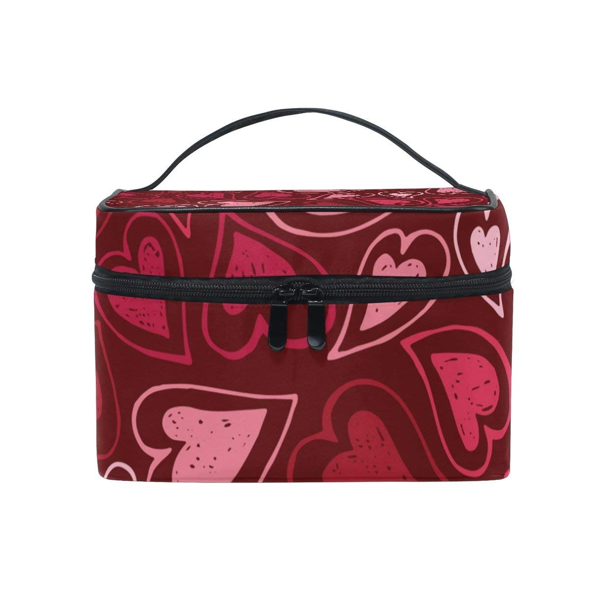 Cosmetic Case Bag Pink And Red Love Heart Portable Travel Makeup Bag Toiletry Organizer