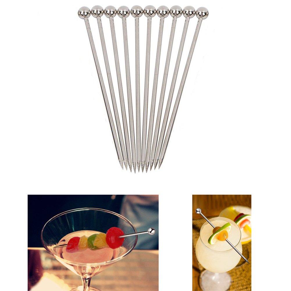 Cocktail Picks Skewers Sticks Toothpicks Fruit 10 PCS Firework Handmade Decoration Multicolor Appetizer Stainless Steel Party