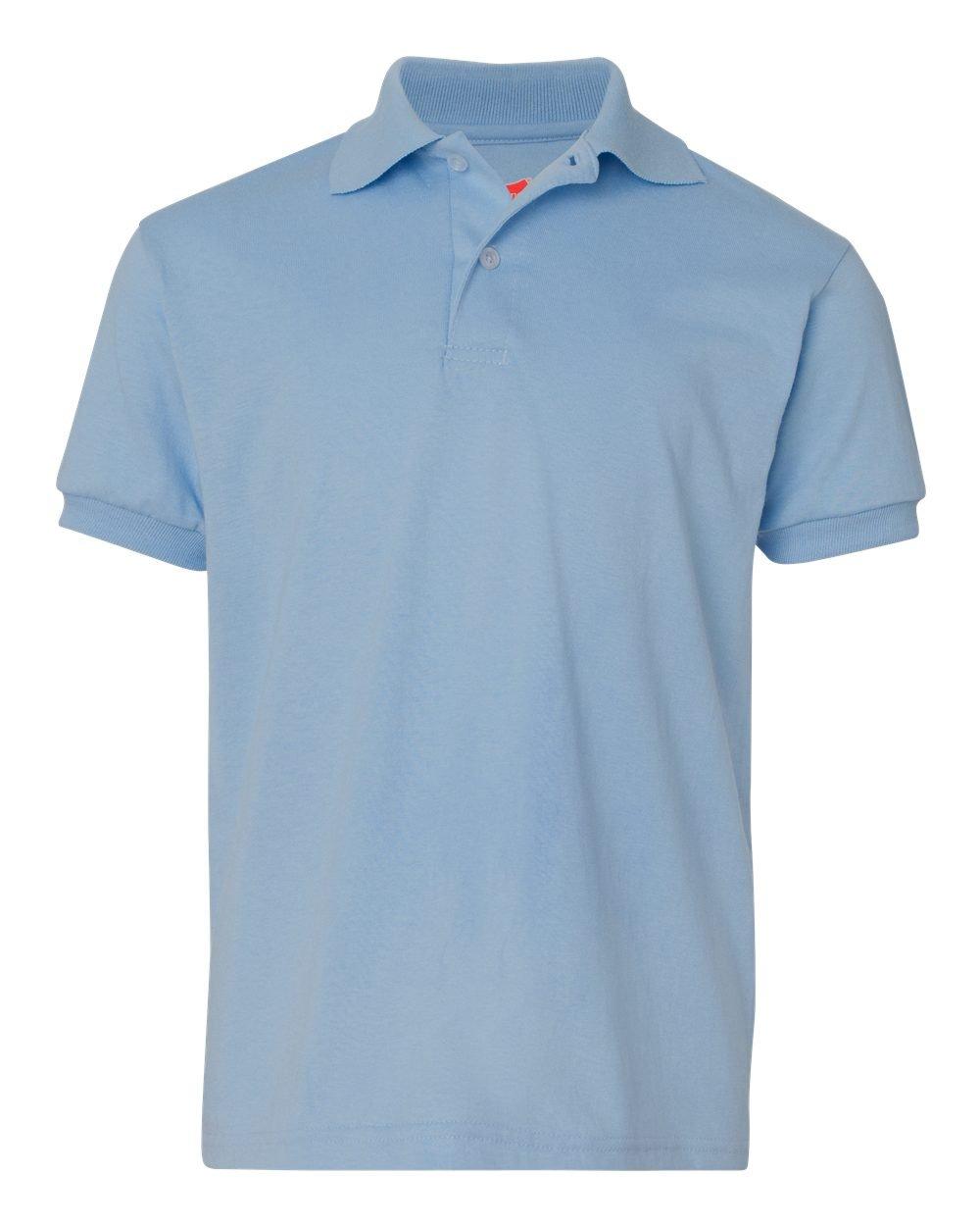 Hanes Boys 50 / 50 ComfortBlend EcoSmartジャージーニットポロ( 054y ) B005GQZH7O M US (Size 8-10) ライトブルー ライトブルー M US (Size 810)