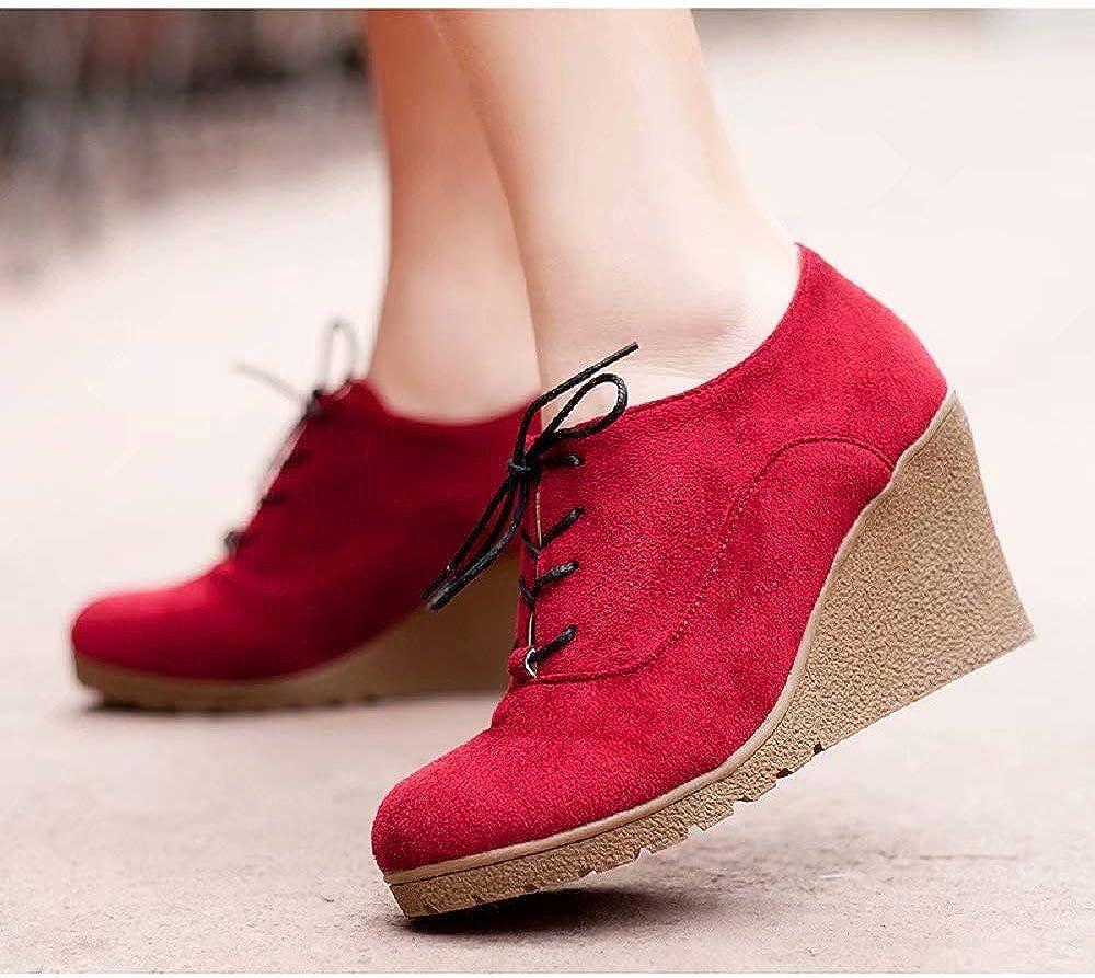 JOYTO Chaussure Compensee Femme Cuir Talon Hauts Montantes Daim Cheville Plateforme 8 CM Loafers Lacer Fashion Noir Rouge Bleu Vert Orange 34-39