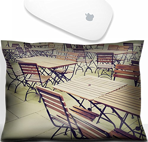(Luxlady Mouse Wrist Rest Office Decor Wrist Supporter Pillow Vintage looking Tables and chairs of a dehors alfresco bar restaurant pub.IMAGE: 27620877)