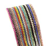 Nizi Jewelry Non Hotfix Glass Strass Cup Chain Beads Rhinestones Mixed 18 Colors Each 0.9m For Clothes Shoes Jewelry Decorations (ss12 3mm Mixed Colors)