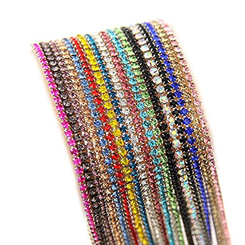 Nizi Jewelry Non Hotfix Glass Strass Cup Chain Beads Rhinestones Mixed 18 Colors Each 0.9m For Clothes Shoes Jewelry Decorations (ss12 3mm Mixed Colors) by Nizi Jewelry