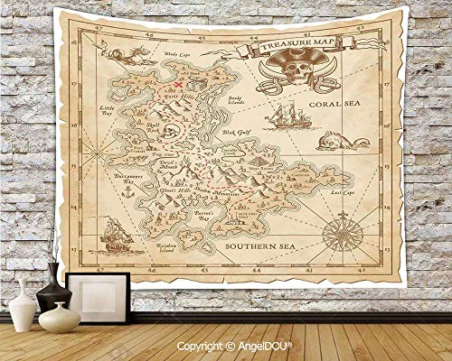 - AngelDOU Ocean Island Decor Dorm Decor Wall Hanging Tapestry Old Ancient Antique Treasure Map with Details Retro Color Adventure Sailing Pirate Print for Living Room BW70.8xL59(inch)