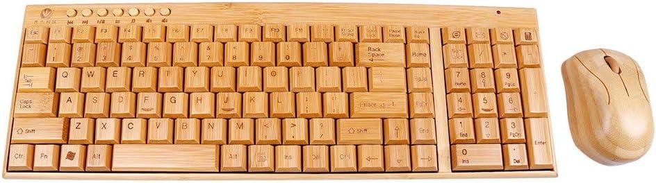 CAOQAO- Teclados Combo de ratón y Teclado inalámbrico de 2.4GHz para PC de Madera de bambú Natural Hecho a Mano (400x 135x 25mm, Naranja)
