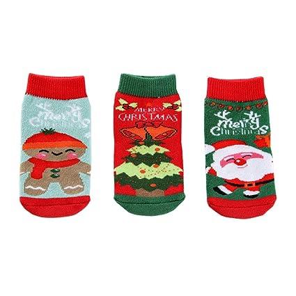 3 Pares Calcetines Algodon Estampados,Calcetines de Navidad Bebe Niña Sin Costuras,Calcetines Termicos