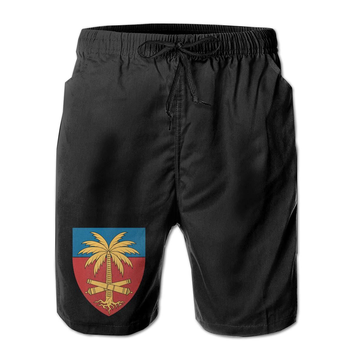 Coat of Arms of Haiti Men Summer Casual Shorts,Beach Shorts Swim Trunks