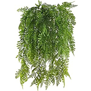 HUAESIN 2pcs Fake Hanging Plant Artificial Greenery Plants Faux Vines Plastic Trailing Plants for Indoor Outside Wedding Fence Balcony Hanging Basket Decor Green 64