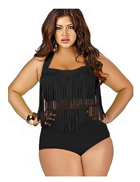 8af566852e Amazon.com: OYTRO Women Plus Size Swimsuit Sets High Waist Fringe Swimwear  Beachwear Solid Color Split Two Piece Swimsuit: Clothing