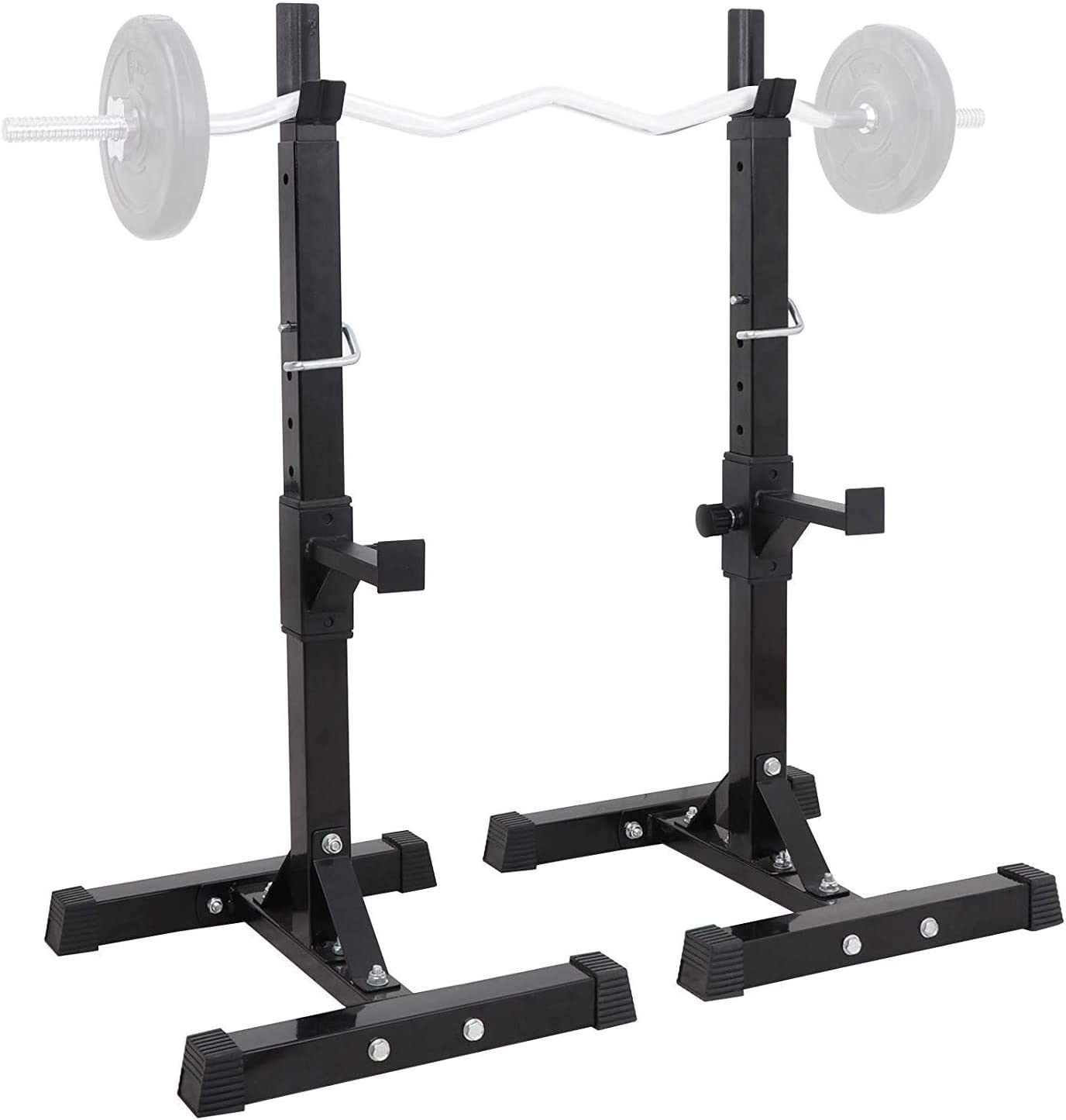 Nisorpa Pair of Adjustable 41-64 inches Dumbbell Squat Racks Max Load 441Lbs Anti-Slip Barbell Rack Holder Sturdy Steel Squat Free Bench Press Stands Gym/Home Gym Portable Dumbbell Stands
