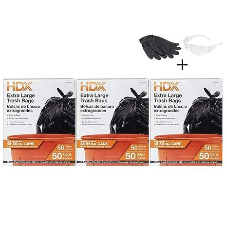 Amazon.com: 3 Pack HDX 960362 50 gal Trash Bags, XL, Black ...