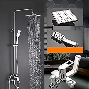 SADASD Moderne Kupfer Bad Dusche Wasserhahn Spalte Große Dusche Wasserhahn  Drei Funktion Einstellung Umschalttaste Heben Dusche